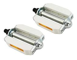 "Alta 1/2"" White PVC Metal Beach Cruiser Bike Pedals"