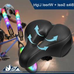 Wide Big Bum Soft Gel Cruiser Bike Saddle Seat + LED Tyre Wh