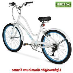 "Women Comfort Bike 26"" White Lightweight Aluminum Frame Cr"