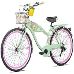 "Women's Beach Cruiser Bikes 26"" Bicycle With Built-in Luggag"