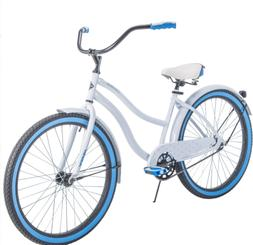 Womens Bike Beach Cruiser 26 Inch Girls Blue White Ride Bicy