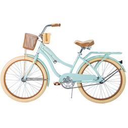 Huffy Womens Nel Lusso Cruiser Bike with Basket, Mint Green