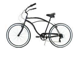 "Zycle Fix ZF Bikes - Classic Men 7 Speed Black  26"" Beach Cr"